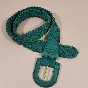J.G. Hook Vintage Jade Green Braided Leather Belt